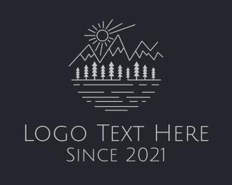 River - Mountain Forest River Lake logo design