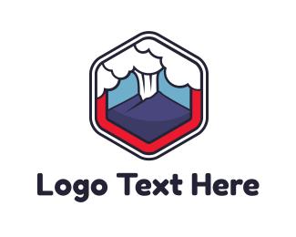 Earth - Volcano Erupt Smoke logo design