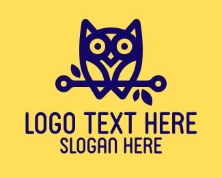Studying - Modern Blue Owl logo design