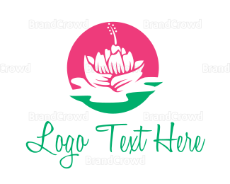 Flower Shop - Pink Beauty Flower logo design
