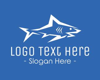 Sea Animal - Big White Shark logo design