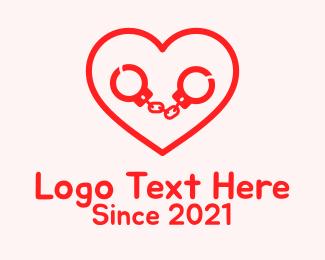 Passion - Red Heart Handcuffs  logo design