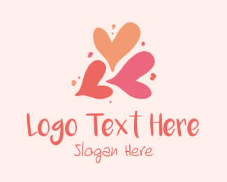 Hand Paint - Love Valentine Hearts logo design