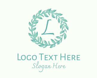 Watercolor - Blue Watercolor Wreath Lettermark logo design