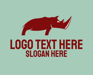 Big - Wild Red Rhinoceros logo design