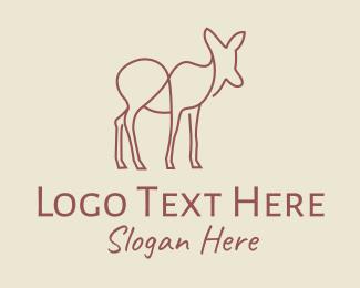 Doe - Brown Deer Line Art logo design