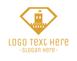 Gold Flag - Gold Diamond Castle logo design