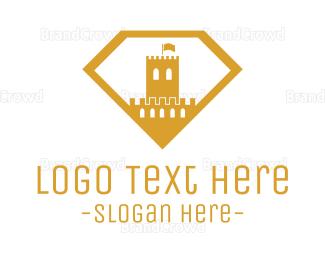 Medieval - Gold Diamond Castle logo design