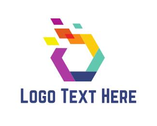 Web Design - Colorful Hexagon logo design