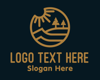 Riverside - Gold Lakeside Outdoor Scene logo design