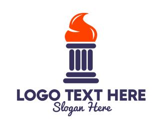 Orange Flame Pillar  Logo