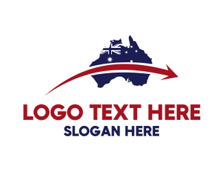 Australian Flag - Australia Map logo design