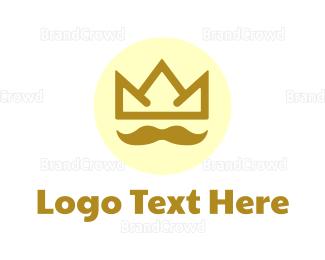Facial Hair - Crown Mustache logo design