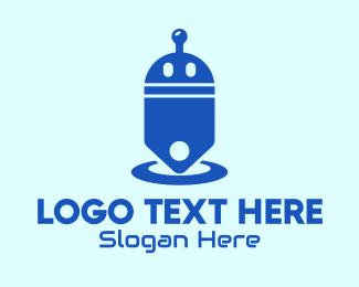 Mecha - Blue Droid Price Tag logo design