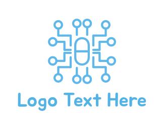 Drug Store - Circuit Capsule logo design