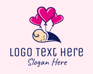 Child Care - Baby Heart Balloon  logo design
