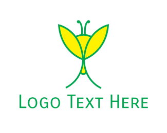 Dragonfly - Yellow & Green Insect logo design