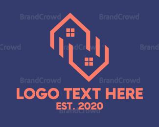 Neighborhood - Twin House Outline logo design