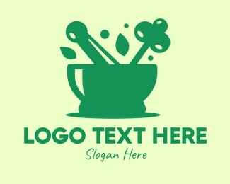 Salad Bowl - Green Mortar & Pestle logo design