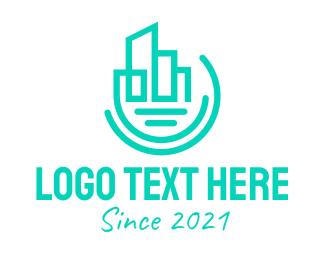 Concreter - Modern Geometric City Buildings logo design