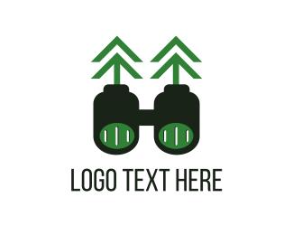 Ocular - Green Binoculars logo design