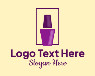 Nail Bar - Purple Nail Polish logo design
