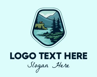 Plains - Outdoor Riverside Cabin logo design
