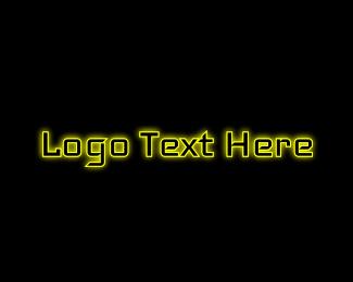 Hacker - Yellow Gaming Glow logo design