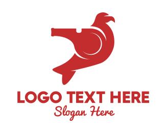 Whistle - Red Whistle Bird logo design