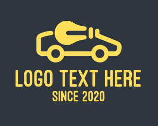 Electrical - Yellow Electric Car Lightbulb logo design