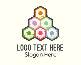 Art Teacher - Colorful Pencils Pyramid logo design