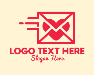 Social Media - Red Mail Heart logo design