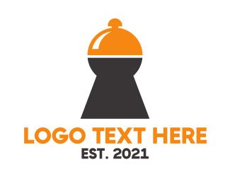 Keyhole - Food Keyhole Lock logo design