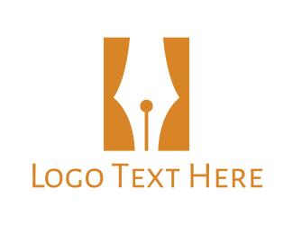 Writing - Pen Curtain  logo design