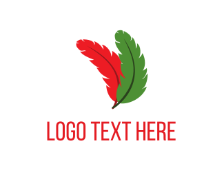 Internet Web Red & Green Feathers logo design