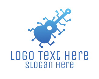 Guitar Lesson - Digital Blue Guitar logo design