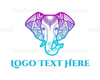 Elephant - Mandala Elephant  logo design