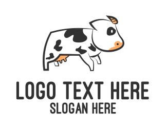 Dairy Farm - White Cow logo design