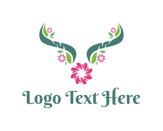 Chrysanthemum - Floral Horns logo design