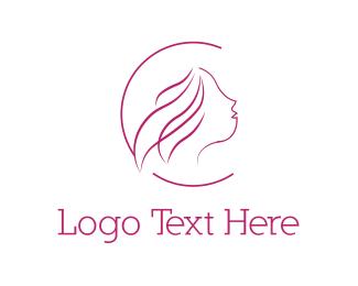 Hairdresser - Pink Silhouette logo design