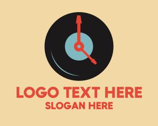 Recording - Clock Vinyl Record logo design