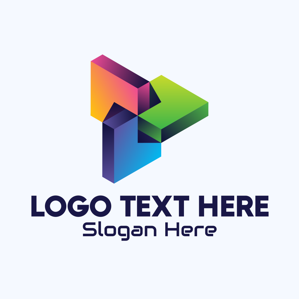 3D Multicolor Geometric Shape Logo