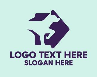 Dog Trainer - Pointer Dog Arrow logo design