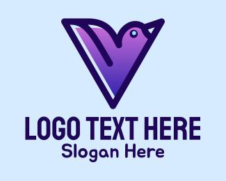Chickadee - Letter V Bird logo design