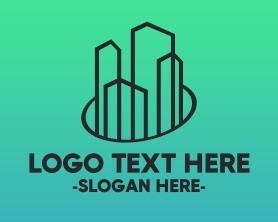 Town - Minimalist Builder Town Buildings logo design