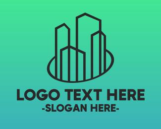 Condominium - Minimalist Builder Town Buildings logo design