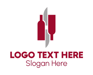 Food And Wine - Wine & Knives logo design