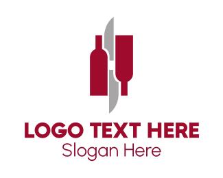 Chef - Wine & Knives logo design