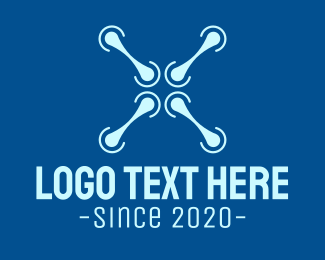 Remote - Blue Drone Propeller logo design
