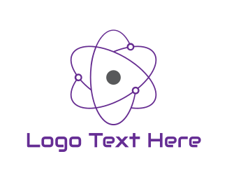 Purple And Gray - Purple Atom logo design